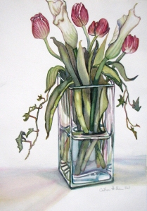 Calla Lillities and Tulips in Glass #2
