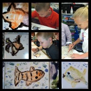 Orange Elementary School Tiles Fish