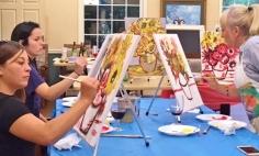 Fox Trail Assisted Living Paint & Sip for Orange Senior Center Fundraiser — Van Gogh Sunflowers with artist Carol Barber